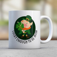 Lucky Irish Leprechaun Funny Mugs Coffee Mugs St Patricks Day Gifts Luck Shamrock Four Leaf Clover Leprechaun Gift