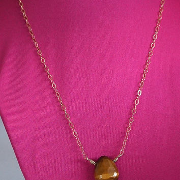 Tigers Eye Pendant, 14kt Gold Filled Necklace, Wire Wrapped Jewelry Handmade, Tigers Eye Gemstone Pendant, Tiger Eye Necklace