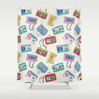 Vintage Cassette Tape Pattern Shower Curtain by Smyrna