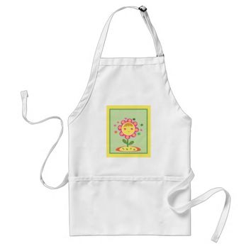 Cute Yellow Pink Flower Shape Girl Standard Apron
