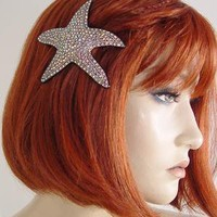 PLASTICLAND - Black Lucite & Crystal Starfish Hair Clip