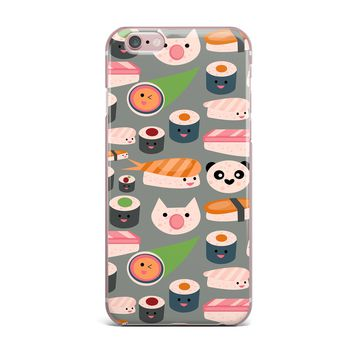 "bruxamagica ""Kawaii Sushi Gray"" Gray Multicolor Food Pattern Digital Illustration iPhone Case"