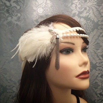 20s style Silver White Art Deco Era Tassels Gatsby Ostrich Feather flapper Headband Wrap Head Piece 1920s rhinestone roaring 1920s pearls