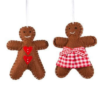 Festive Gingerbread Boy and Girl Hanging Decoration (options available)