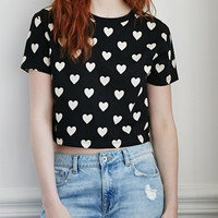 Black Short Sleeve Heart Print Cropped T-shirt