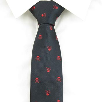 Skull Black and Red Silk Tie