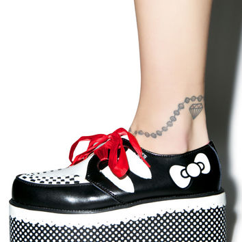 T.U.K Red Ribbon Hello Kitty Creepers Black/White