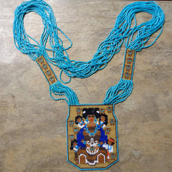 Native American Style Butterfly Potter Story Teller Necklace Hand Made Seed Beaded