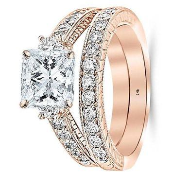 .2.53 Ctw 14K White Gold GIA Certified Princess Cut Three Stone Vintage with Milgrain & Filigree Bridal Set with Wedding Band & Diamond Engagement Ring, 1.5 Ct I-J VS1-VS2 Center