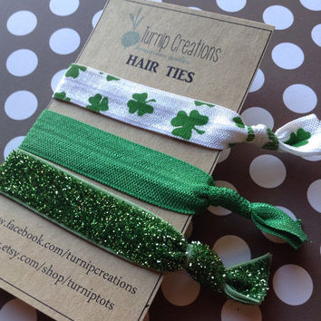 FOE Hair Ties St Patricks Day Shamrock Green elastic pony tail holder party favor