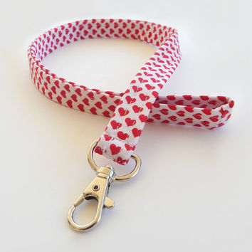 Heart Lanyard / Hearts Keychain / Red Lanyard / Key Lanyard / Red Hearts / ID Badge Holder / Valentine's Day / Cute Lanyard / Valentine