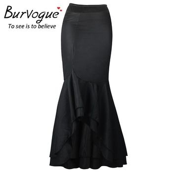 Burvogue Stylish Mermaid Skirt Steampunk High Waist Skirts Fashion Vestidos Perspective Long Maxi Skirts Black Sexy Skirt