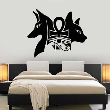 Attractive Vinyl Wall Decal Ancient Egyptian Gods Anubis Bastet Eye Of Horus Sticker