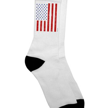 Red and Blue Stamp Style American Flag - Distressed Adult Crew Socks  by TooLoud