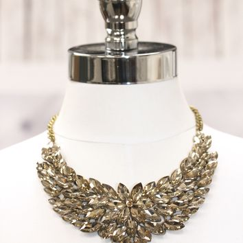 Large Almond Stone Flower Statement Necklace
