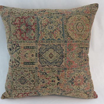 "Tan Red Teal Blue Carpet Tapestry Pillow, Heavy Soft Chenille, 19"" Square, Moroccan or Vintage Decor, Cover Only or Insert Included"