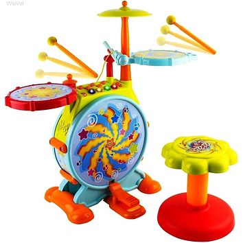 Kids Musical Toy Drum Play Set, Drums, Cymbals with Stool and Microphone