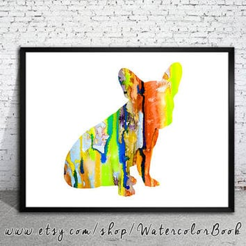 Colorful French Bulldog 6 Watercolor Print, Home Decor, dog watercolor,watercolor painting, French Bulldog art,animal watercolor,Bulldog art