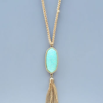 Mint iridescent Pendant Necklace