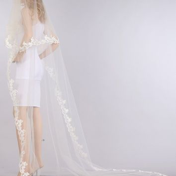 Lace chapel train wedding Veil  V1062-110 - CLOSEOUT