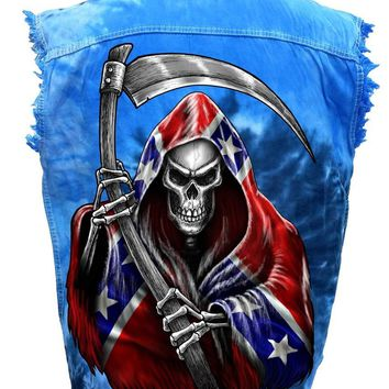 Men's Sleeveless Denim Shirt Rebel Flag Grim Reaper Tie Dye Vest