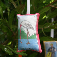Garza Heron/Flamingo Mexican Loteria Christmas Ornament - Dia De Los Muertos / Day of the Dead