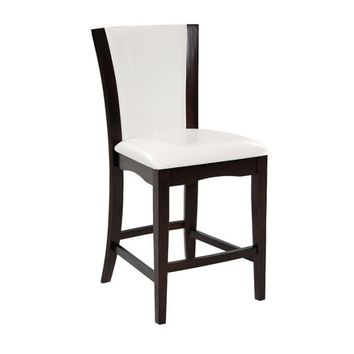Leather Upholstered Counter Height Chair, Set Of 2, Brown and White
