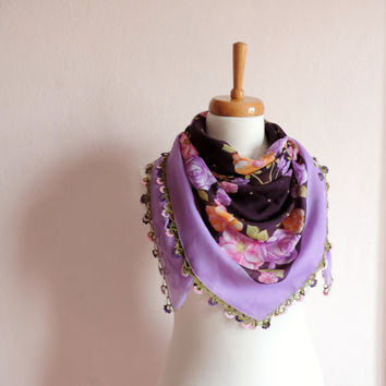 Turkish Scarf (Yemeni)With Crochet Lace, Lilac and Purple Floral Cotton Scarf