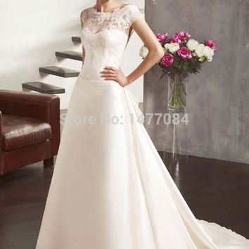 Sexy See Through Wedding Dresses Lace Low Back Bridal Gowns With Train 2015 High Quality