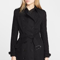 Women's Burberry London Lace Sleeve Double Breasted Trench Coat