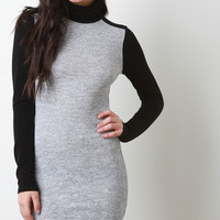 Two-Tone Knit Mock Neck Bodycon Dress