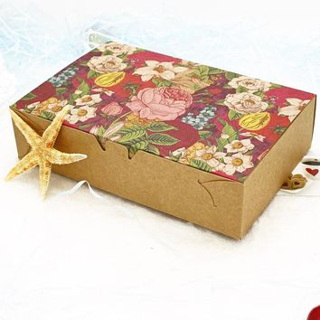 20PCS Vintage Floral Printed Baking Kraft Paper Boxes Christmas Boxes Macaron Boxes Packaging Cookie Candy Carton