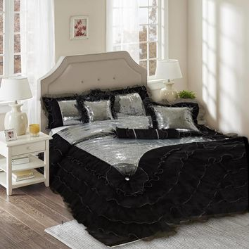Tache 6 Piece Night Out Black Silver Luxurious Sequin Comforter Set