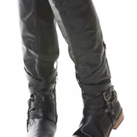 Black Faux Leather Knee High Buckle Up Rider Boots
