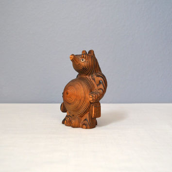 Vintage Japanese Cryptomeria Wood Tanuki Carving - Signed