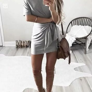 Streetstyle  Casual Grey Pleated Irregular Round Neck Short Sleeve Loose Mini Dress