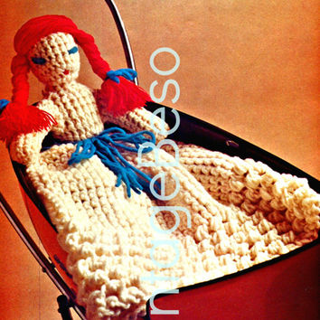 CROCHET DOLL 70s Vintage Crochet Pattern 30 1/4 inches high INSTANT Download Pdf Nursery Soft Toy Playschool cute 4 bed super quick easy fun