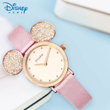 Brand Disney Watch Minnie Mouse For Girls Gift New Arrivel Quartz Animal Shape Watch Cute Leather Waterproof Kids Watch Hodinky