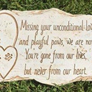 Pawprints Remembered Pet Memorial Stone Marker for Dog or Cat