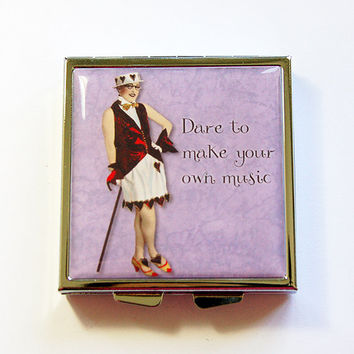 Pill Box, Pill Case, Square Pill case, pill container, 4 Sections, Square Pill box, Purple, Dare to make your own music (4339)