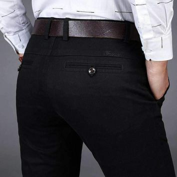 Design Mid Waist Mens Straigh Casual Pants Mens Loose Cotton Formal Male Business Trousers