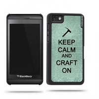 Keep Calm And Craft On Teal Floral Blackberry Z10 Case - For Blackberry Z10