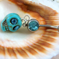 Belly Ring - Belly Button Jewelry - Turquoise Skull Belly Ring - Day of the Dead Dangle Belly Ring - Turquoise and Silver Belly Ring