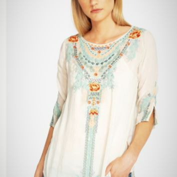 Johnny Was Olive Blossom Tunic ~ Shell