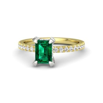 Emerald-Cut Emerald 14K Yellow Gold Ring with White Sapphire