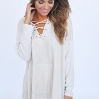 Oatmeal Lace Front Hooded Top