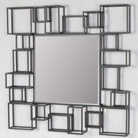 Large modern geometric square decorative art décor metal frame wall mirror