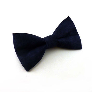 Navy clip on bow tie – mens or womens adult size – marbled blue cotton bowtie for weddings prom or casual wear