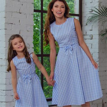 New Family Dressses Clothing Matching Mother And Daughter Clothes Plaid Bowknot Dresses Sleeveless Outfits Casual Dress Outfits