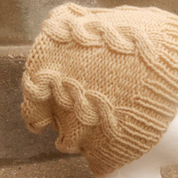 Hand Knit Hat , Cable Knitting,Winter Knit beret,woman hat,wool hat, slouchy hat